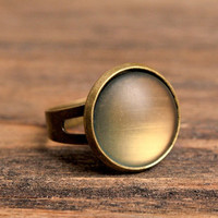 Rustic moon glow ring, mood ring, adjustable ring, statement ring, mood glass ring, antique brass ring, honey gold ring, painted mood ring