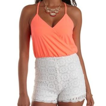 White Combo Strappy Chiffon & Lace Romper by Charlotte Russe