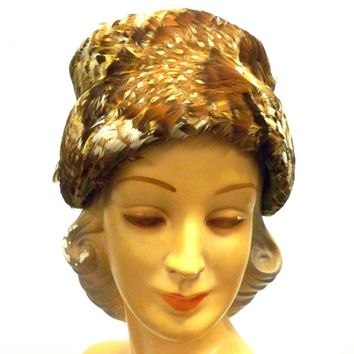 Vintage Ladies Pheasant Feather Hat Toque 1950s Browns & Whites