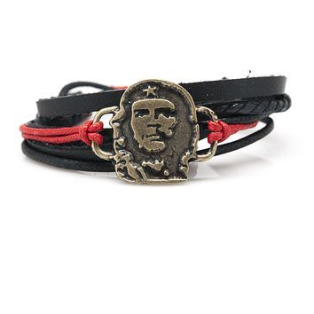 Che Guevara Rope and Leather Adjustable Unisex Charm Bracelet