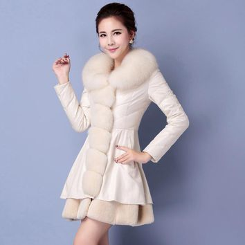 2017 is the new brand of women's down jacket in the thick section of the long-fur collar Korean leather jacket fur