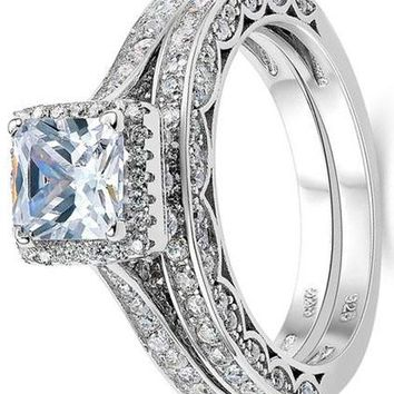 Princess White Cubic Zirconia Wedding Ring Set For Women 925 Sterling Silver Engagement