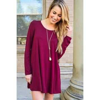 Girl Boss Swing Dress - Burgundy