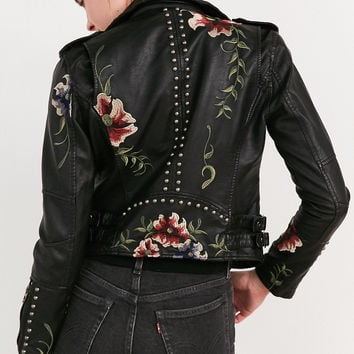 BLANKNYC As You Wish Floral Embroidered Moto Jacket | Urban Outfitters