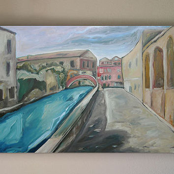 Oil Painting, Streched Canvas, Art, Landscape, Fine Art, Venice, Italy, Canal, Plein Air, Expressionist Painting, 36x24 by Scott Zdon