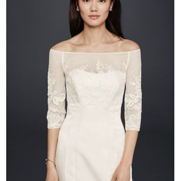 Lace Topper with Buttons - Davids Bridal