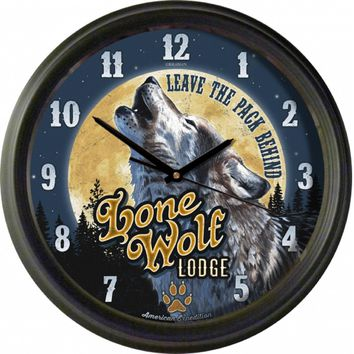 American Expedition Vintage Lone Wolf Lodge Clock