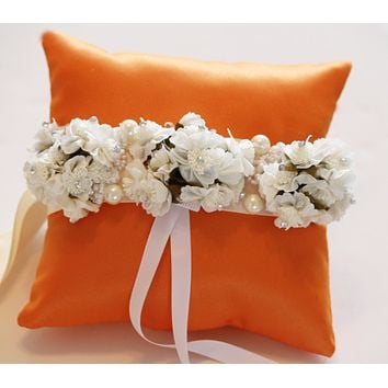 Orange Ring Pillow for Dogs, Ivory White Flowers on Orange Pillow
