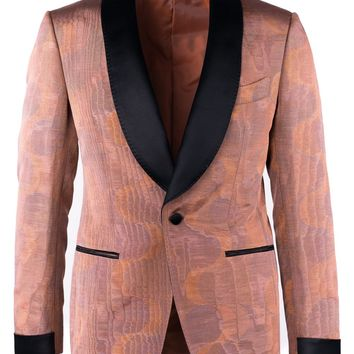 Tom Ford Orange Jacquard Shawl Lapel Shelton Cocktail Jacket