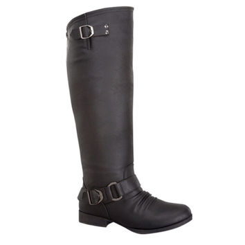 Style and Flare~Knee High Buckle Accent Tall Black Boots