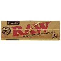 RAW Unbleached Organic 1.25 Size Cigarette Rolling Papers, 4 Packs, 50 Leaves