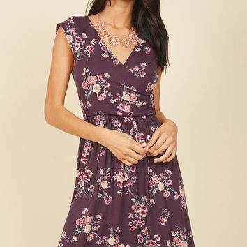 Breezier Said Than Done Floral Dress in Plum | Mod Retro Vintage Dresses | ModCloth.com