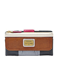 Fossil Emory Colorblocked Zip Clutch Wallet