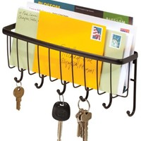 InterDesign Axis Mail, Letter Holder, Key Rack Organizer for Entryway, Kitchen - Wall Mount, Bronze