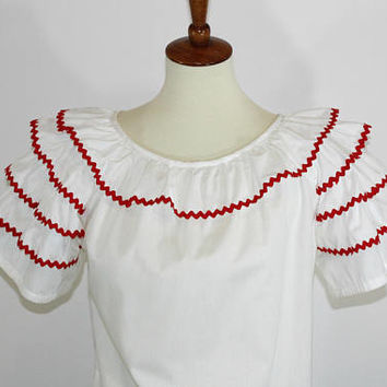 Ladies Ruffle Blouse / Top | White with Red Rick Rack Trim | Scoop Neck | Short Sleeve | Sz LG | Square Dance Blouse | Square Dance Clothes