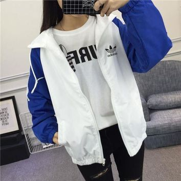 "shosouvenir : ""Adidas"" Women Sport Casual Multicolor Long Sleeve Zip Cardigan Hooded Sunscreen Clothes Coat"