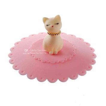 1 Pc Cute Cat Silicone Cup Suction Seal Airtight Lid, Cap, Cover 3 Colors