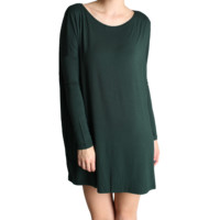 Dark Green Piko Tunic Long Sleeve Dress