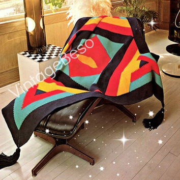 Crochet Pattern Vintage - 1970s Geometric Afghan - Superman Reminiscent Blanket - Retro Crochet Pattern - Instant Download Vintage Beso PDF