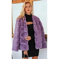 Fur A Minute Faux Fur Long Sleeve V Neck Coat Outerwear - 5 Colors Available