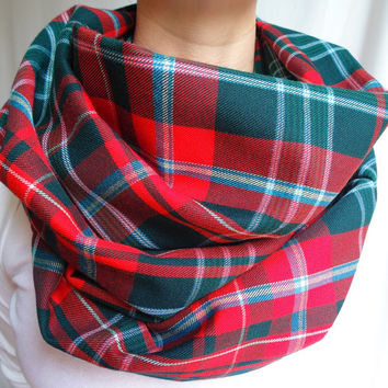 Red Green Plaid Infinity Scarf, Red Tartan Scarf, Back To School, Womens Scarf, Oversized Scarf, Gift, Extra Long Scarf, Fall Winter Scarf