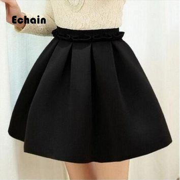 LMFET7 2017 Autumn skirt space cotton elastic force high waist skirt pleated skirts women tutu skirt saia polychromatic casual