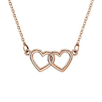 Tiny Double Heart Necklace in 14k Rose Gold, 18 Inch