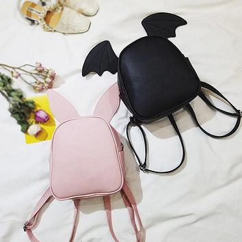 Fashion Simple Solid Color Mini Backpack Women Double Shoulder Bag