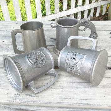 Vintage pewter mugs tankards (lot of 4) - Pewter bar decor bar accessories - Tennis Chevrolet Corvette Pistol themes