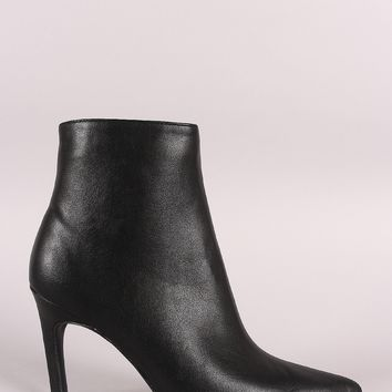 Qupid Vegan Leather Pointy Toe Kitten Heeled Booties