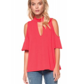 Dex Cold Shoulder Mock Neck Top in Poppy Red