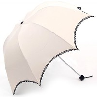 TOPTIE Ivory Anti-UV Sun Umbrella, Dome-Shaped Parasol, Lace Trimming, Christmas Gift