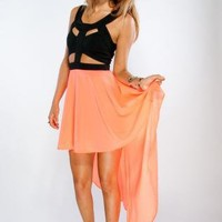 Neon High Low Cut Out Dress with Black Top