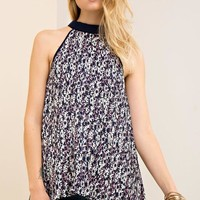 Navy Pleated Floral Halter Top