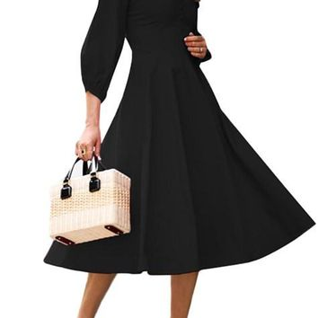 Black Button Front Balloon Sleeve Vintage Dresses