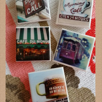 """New Orleans Magnets - Set of 5 Large  2"""" Ceramic Tile Magnets/New Orleans Images /New Orleans Christmas Gifts & Corporate Gifts / customized"""
