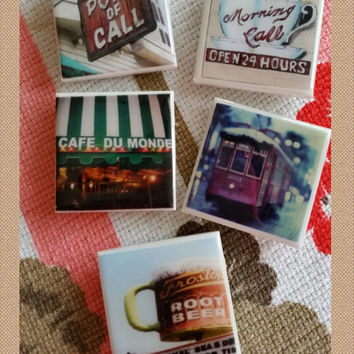 "New Orleans Magnets - Set of 5 Large  2"" Ceramic Tile Magnets/New Orleans Images /New Orleans Christmas Gifts & Corporate Gifts / customized"