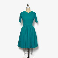 Vintage 50s Jacques Heim Day Dress / 1950s Teal Green Wool Short Sleeve Full Skirt Dress