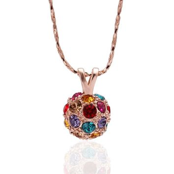 "Moira ""the great"" Disco Crystal Ball Rose Gold Pendant Necklace"
