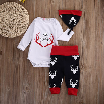 autumn fall kids children clothing Toddler Infant Newborn Baby Boy Girl Top T-shirt+Pant Leggings 3pcs Outfit Set