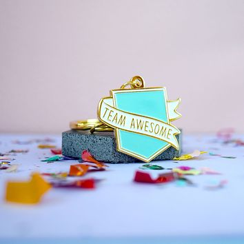Team Awesome Flag Enamel Keychain in Tiffany Blue