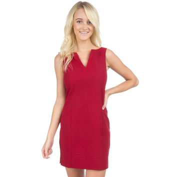 The Avery Solid Seersucker Dress in Crimson by Lauren James - FINAL SALE