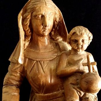 Magnificent Antique Madonna & Child Statue