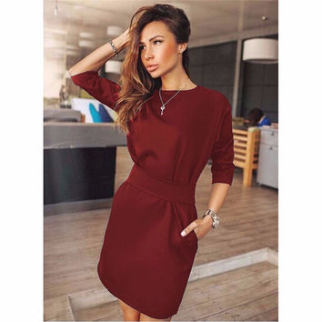 2016 Ukraine Spring Summer Women Fashion Casual Mini Dress Fall Three Quarter Sleeve Red&Black&Blue Dresses Plus Size Clothing