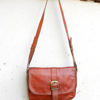 Vintage Chesnut Brown Leather Crossbody , Shoulder , Messenger Purse Bag // Medium