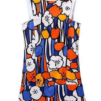 Floral Print Sleeveless Vest Dress Slim Skirt One Piece Dress [4917828420]