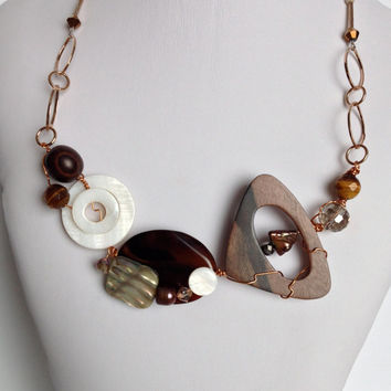 Brown & White OOAK Wired Necklace