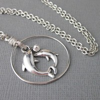 Unique Two Dolphins Circle Charm Necklace Mother Baby Antiqued Pewter