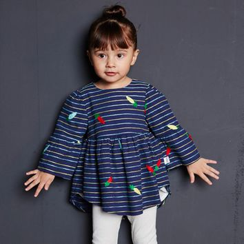 2017 New Fall Baby Girl Cotton Long Cardigan Outwear Half Flare Sleeve Stripe Coat Jacket Pink Navy Cute Infant Clothing 6m 24m