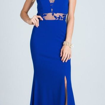 Royal Blue Halter Sheer Embroidered Cut Out Prom Gown with Slit